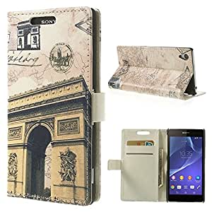 JUJEO Wallet Leather Cover with Stand for Sony Xperia Z2 D6502 D6503 D6543 - Non-Retail Packaging - Triumphal Arch and Map
