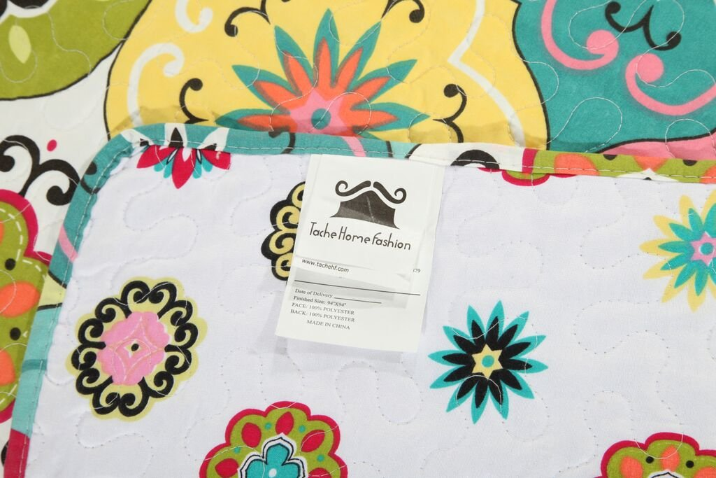 Tache Home Fashion SD3199-Queen 3 Piece Geo Multi Spring Flower Reversible Bedspread Quilt Set, Queen