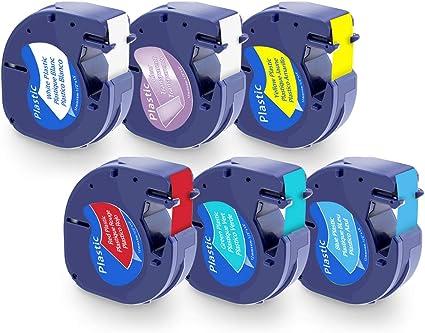 Lot de 3 Ruban Adh/ésif Pour /Étiqueteuse Compatible avec Dymo LetraTag 91201 S0721610 Plastique Noir sur Blanc 12mm x 4m Pour Dymo LetraTag LT-100H LT-100T LT-110T QX 50 XR XM 2000 Plus
