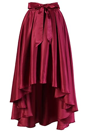 c6f388a65a Diydress Women's Fashion High Waist A-Line Front Short Back Long Satin  Skirts With Bow