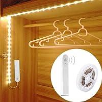 Tiras Leds Iluminación, TFHEEY 120LED 2M Luz Armario Luces LED Nocturna con Sensor de Movimiento para Pasillo Baño Cocina Escalera (funciona con 4 pilas AAA, No Incluidas) (200CM) [Clase de eficiencia energética A++] (Blanco, 2M)