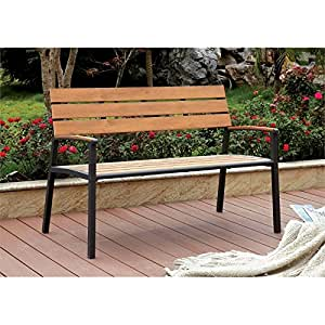 Furniture of America Adonde Transitional Outdoor Bench in Oak