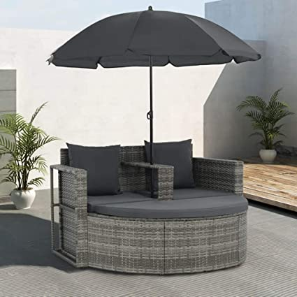Amazon.com: Outdoor 2-Seater Sofa Set with Parasol Poly ...