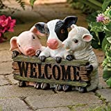 Bits and Pieces – Farm Animal Welcome Entryway Décor- Decorative Statue – Fun, Lighthearted Touch to Any Entryway