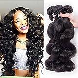 Junbeauty Hair Brazilian Virgin Hair 3 Bundles Deal 100% Unprocessed Virgin Brazilian Body Wave Hair Human Hair Weave Natural Black Color (14 16 18) offers