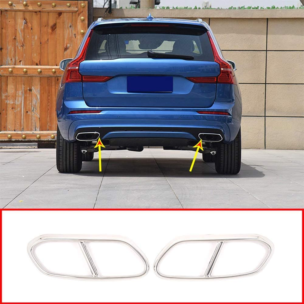 YIWANG Stainless Steel Exterior Accessories Exhaust Tailpipe Decoration Frame Cover Trims 2Pcs For XC60 2018 2019 Auto Accessories