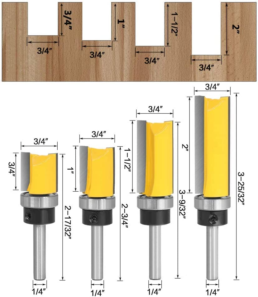 Yakamoz 4Pcs 1//4 Inch Shank Pattern Flush Trim Plunge Template Router Bit Set Bearing Guide Straight Flush Trimming Bits 3//4 Cutting Dia.