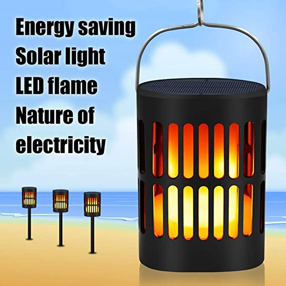 ... LED Waterproof Solar Lights Outdoor Lighting Dusk to Dawn Auto On/Off Flame Effect Solar Garden Lights for Patio Deck Yard: Home & Kitchen