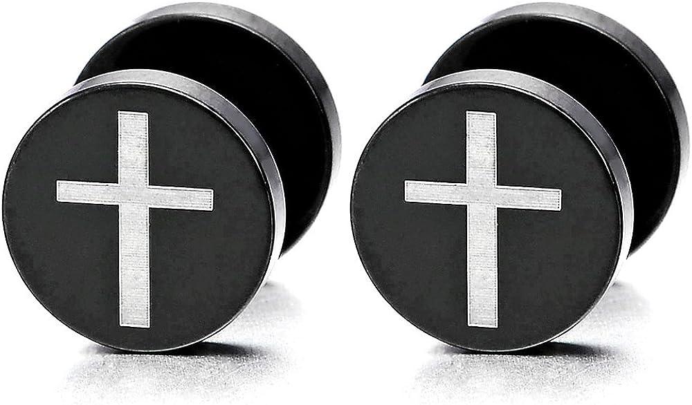 2 Noir Croix Boucles doreilles Homme Femmes Acier Inoxydable Bouchon Jauge doreille Faux Cheater Fake Gauges Plugs