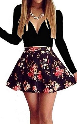 Women Sexy Deep V Neck Long Sleeve Floral Print Cocktail Clubwear Mini Skater Dress