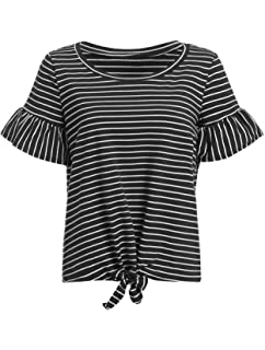 78874e148 Romwe Women's Short Sleeve Tie Front Knot Casual Loose Fit Tee T-Shirt