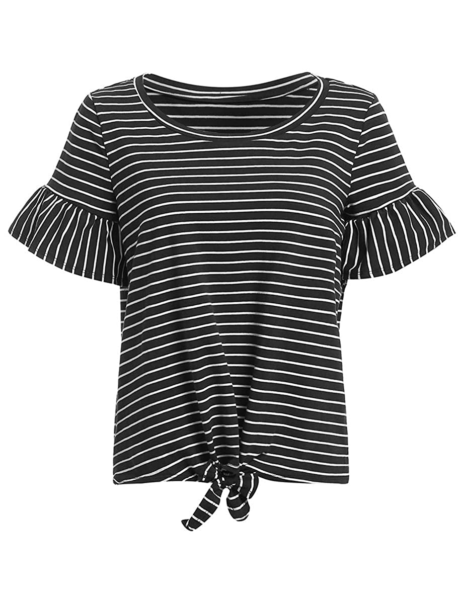 Black stripes Romwe Women's Short Sleeve Tie Front Knot Casual Loose Fit Tee TShirt