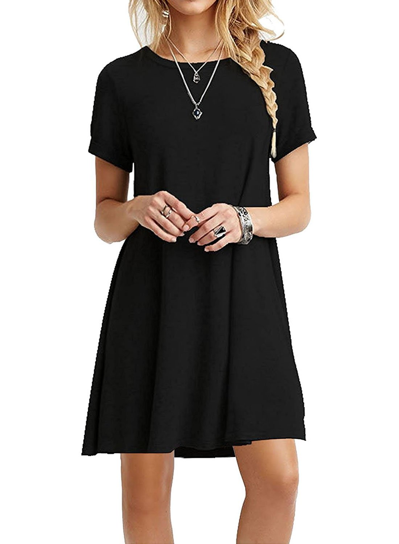 HPYLove Women's Summer Casual Plain Short Sleeve Cute Swing T-Shirt Loose Dress (Black, XX-Large)