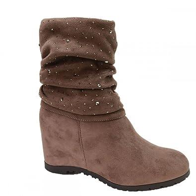 5b8bb0ba120d43 Primtex Bottines compensées Femme semies Montantes Simili Daim Marron à  strass-40: Amazon.fr: Chaussures et Sacs