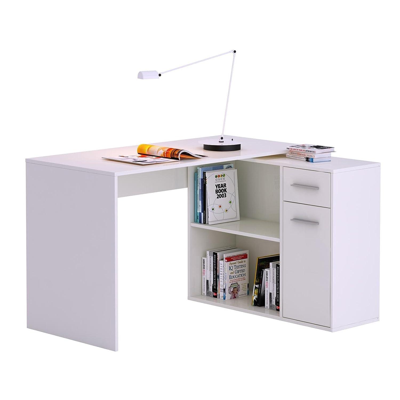 Büro eckschreibtisch weiß  Eckschreibtisch LENA Schreibtisch Computertisch in weiß, mit Regal ...