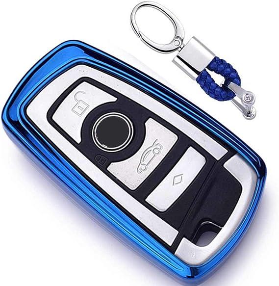 Imagen deAzul Funda de TPU Suave para Llave + Llavero para Coche BMW 1 3 4 5 6 7 Series BMW X3 X4 X5 X6 M3 M4 M5 M6 Remote Smart 3 4 Buttons