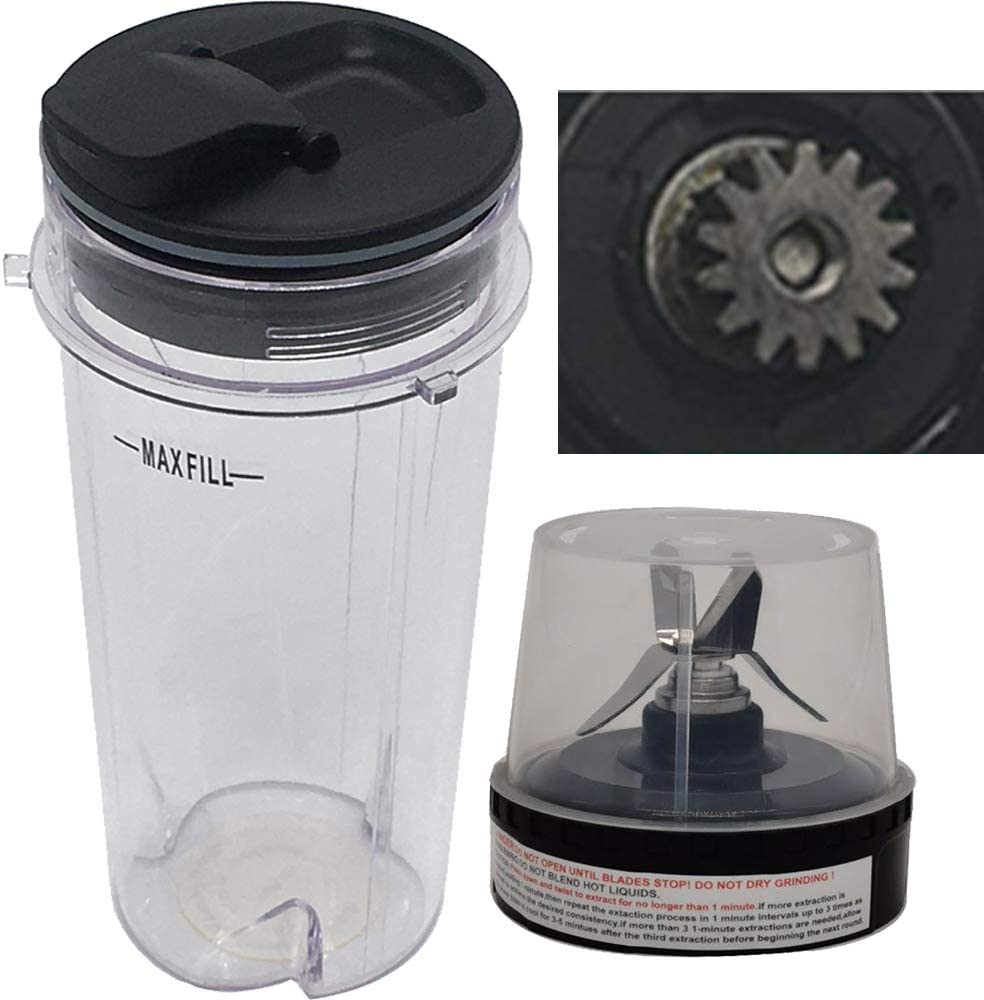 Joystar replacement 16-Ounce (16 oz.) Cup with spout Seal Lid with blade for Nutri Ninja BL810 (BL810)
