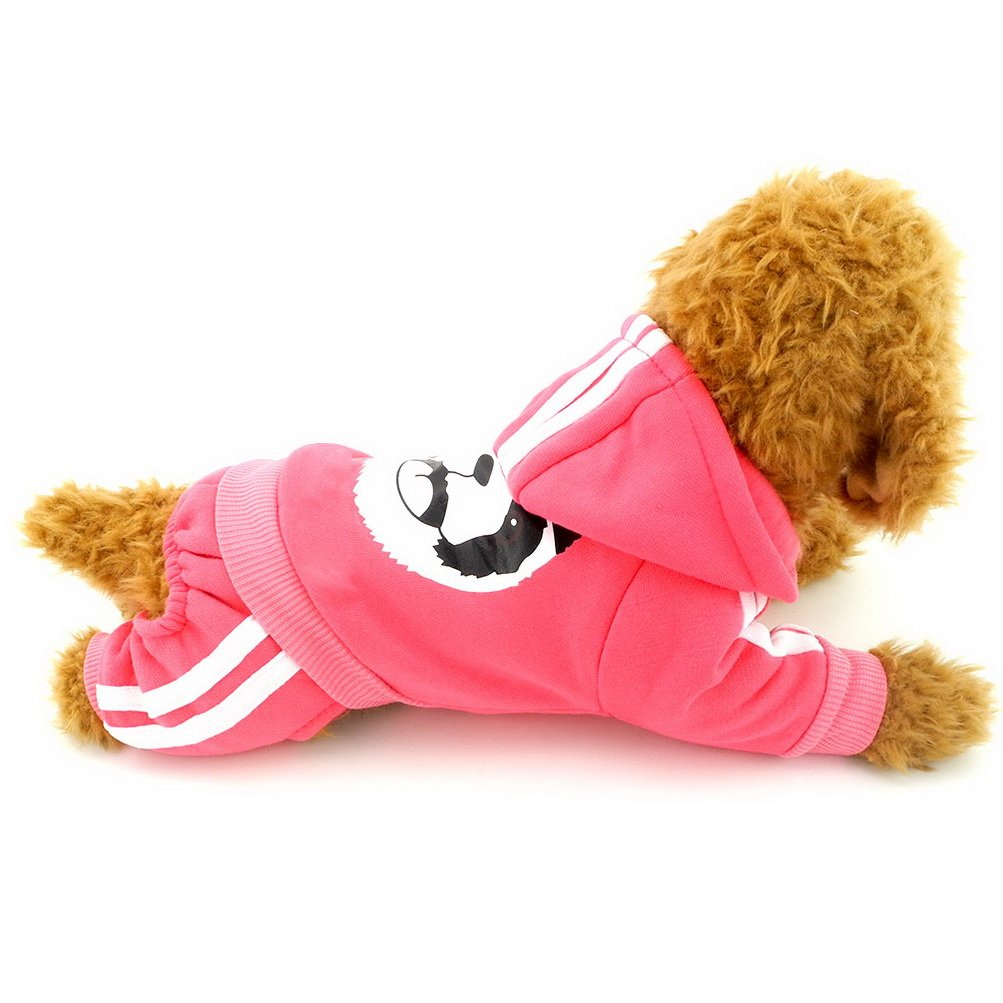 ZUNEA Small Dog Winter Clothes for Female Male Puppy Thick Sweatshirt Fleece Jumpsuit Warm Hoodies Tracksuit Panda Costume Outfits Clothes Apparel Pink XXL