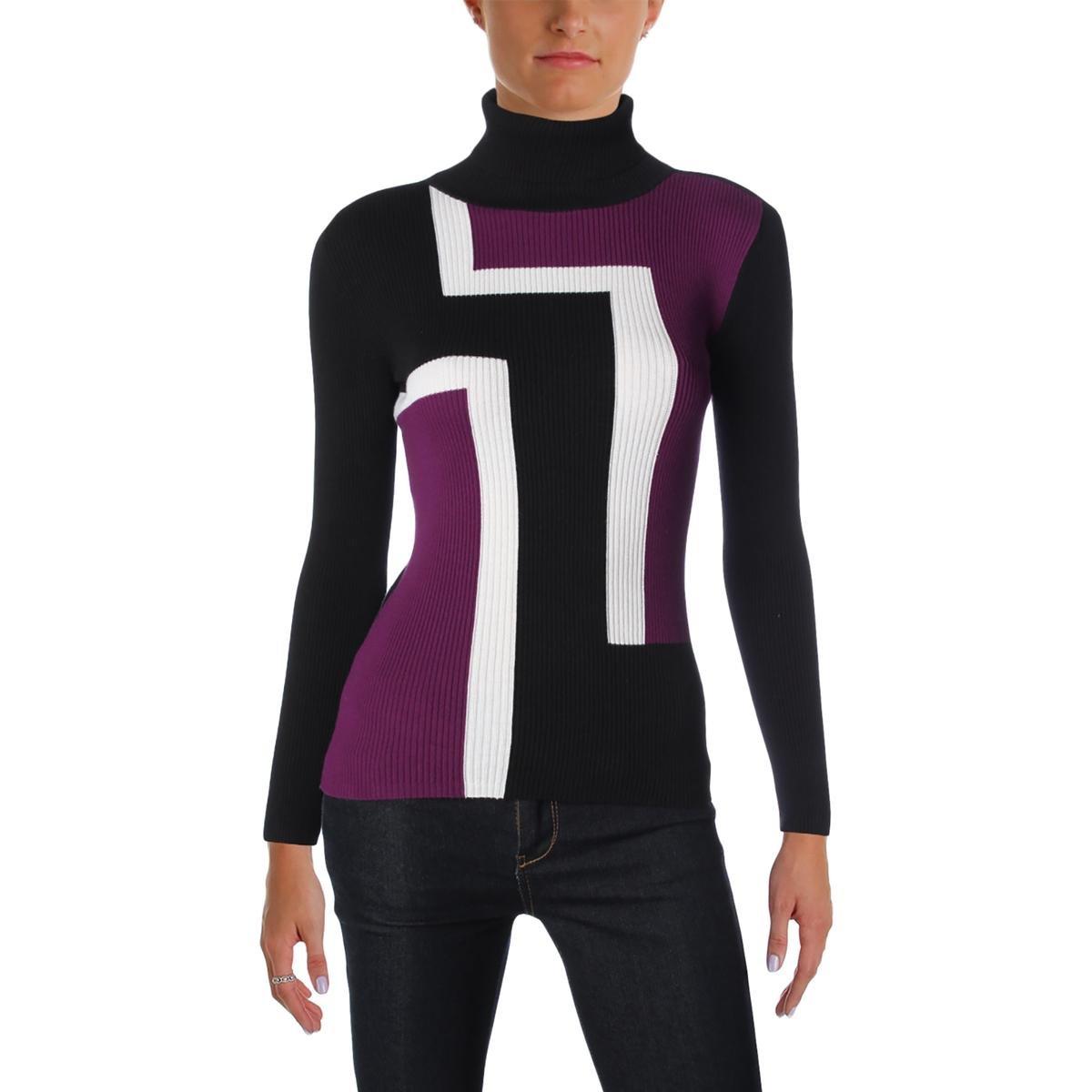 Style & Co.. Womens Petites Mock-Neck Geometric Mock Sweater Black PP
