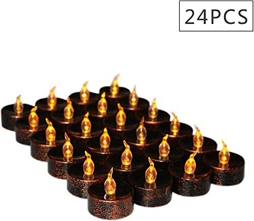 Cozeyat 24pcs Black Tea Lights Battery Operated Flameless Led Candles Votives for Halloween Christmas Tree Window Holiday Indoor Outdoor Decorations