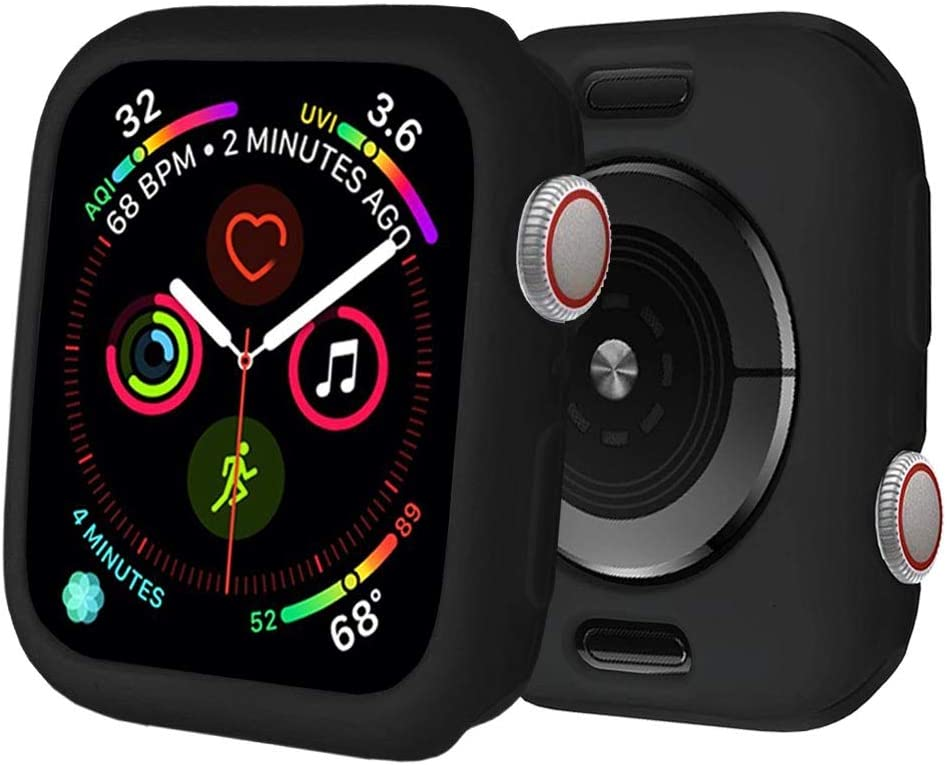 BOTOMALL for Apple Watch Case 40mm Series 6/5/4/SE Premium Soft Flexible TPU Thin Lightweight Protective Bumper Cover Protector for iWatch(Black,40MM Series 4/5/6/SE)
