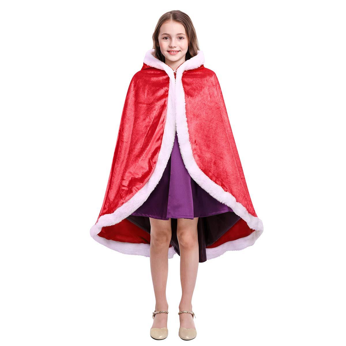 IMEKIS Kid Girls Hooded Cloak Princess Queen Cinderella Belle Rapunzel Birthday Party Cosplay Outfit Halloween Fancy Dress Up Costume Winter Velvet Cape Long Robe Coat Outwear