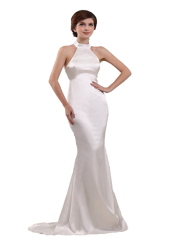 Angel Formal Dresses Womens High Collar Sweep Mermaid Wedding Dress