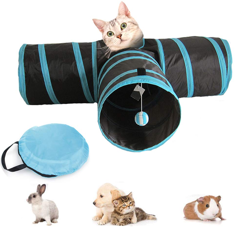 Cat Tunnel Toy, Foldable 3-Way pet Game Tunnel Tube Storage Bag and cat Toy Ball, Big cat, Dog, Rabbit, Guinea Pig, Indoor Outdoor use