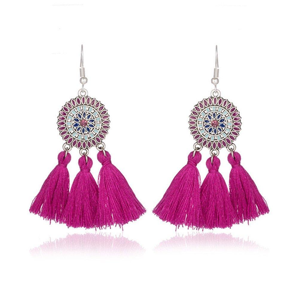 Amazon.com: Ethnic Earrings Women Cross Long Cloth Tassel ...