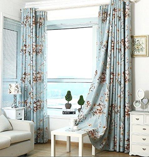 95' Curtain Drapery - ElleWeiDeco Blue with Brown Flower Linen Sheer Window Curtain/drape/panel (63'' L 84'' L 95'' L) (52Wx84L Curtain)