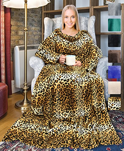 Terrania Wearable Fleece Blanket with Sleeves and Pocket for Women, Super Soft Microplush Adult Wrap Full Body Blanket Robe for Lounge Couch As Seen On TV 73