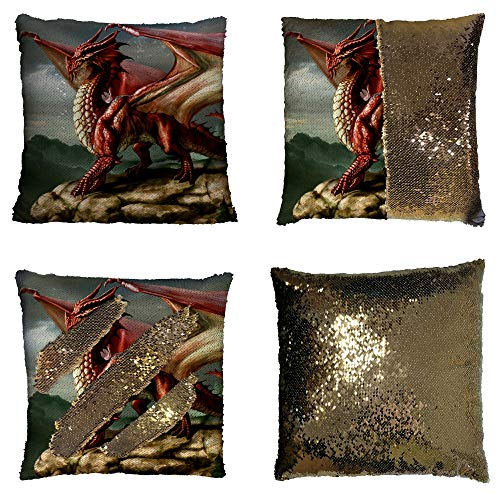BlingC Custom Sea Dragons and Fire Dragons Art Reversible Mermaid Sequin Pillow Case Home Decor Cushion Cover 16x16 Inches