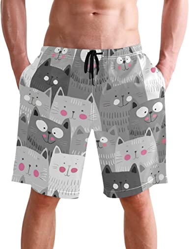 Mens Swim Trunks Cute Cat Kitty Quick Dry Beach Board Shorts with Mesh Lining