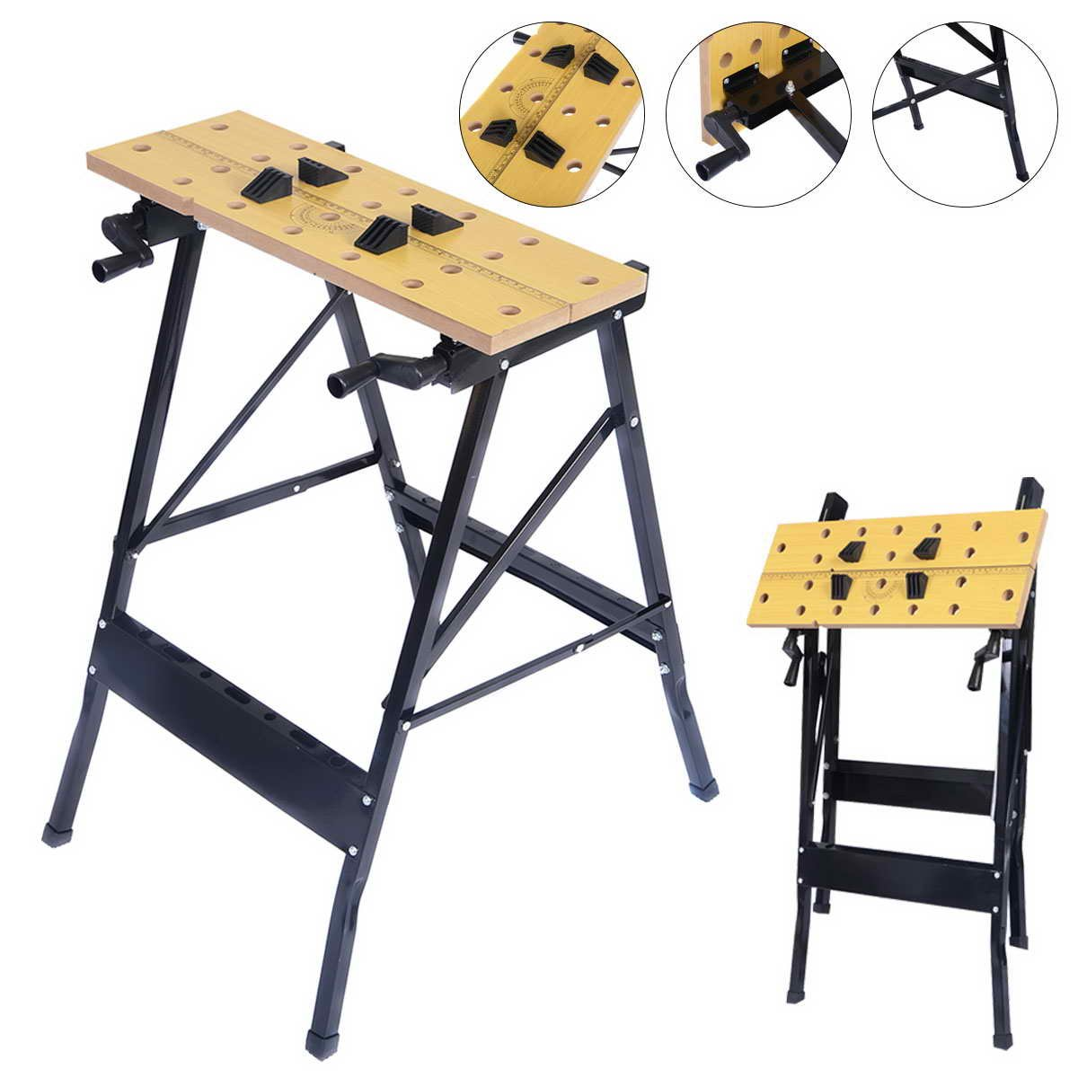 Portable Multipurpose Workbench Table Folding - Toolsempire Adjustable Work Table Sawhorse Vise Heavy Duty Stainless Steel Legs Lightweight Repair Tools For Workshop Light Work by Toolsempire (Image #1)
