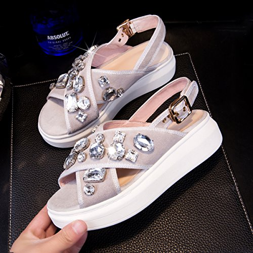 Xing Lin Leather Sandals New Summer Thick Platform Sandals Women Loose Leisure At The End Of Large Student Shoes Large Size Shoes Grey 2JRyU3gM