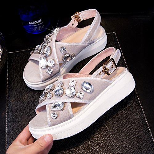 gray Sandalias Lin De Tallas Cuero Xing Al Gruesa Gran Grandes Cantidad Zapatos De Sandalias Sueltos Plataforma Estudiantes Verano Ocio De De Nueva Zapatos De Final Mujer 4Fqdwd