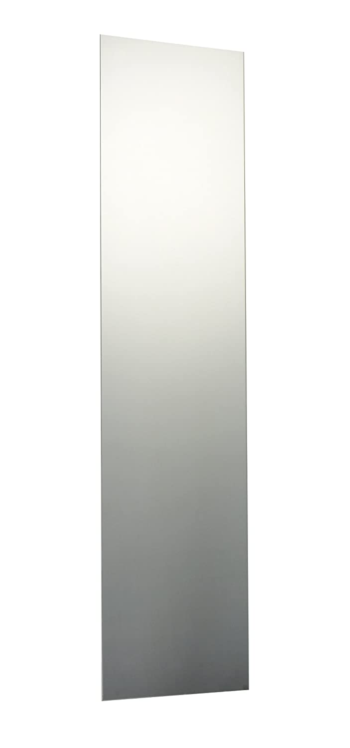 120 x 35cm Plain Frameless Rectangle Bathroom Mirror with Chrome Effect Metal Spring Loaded Wall Hanging Fixing Clips
