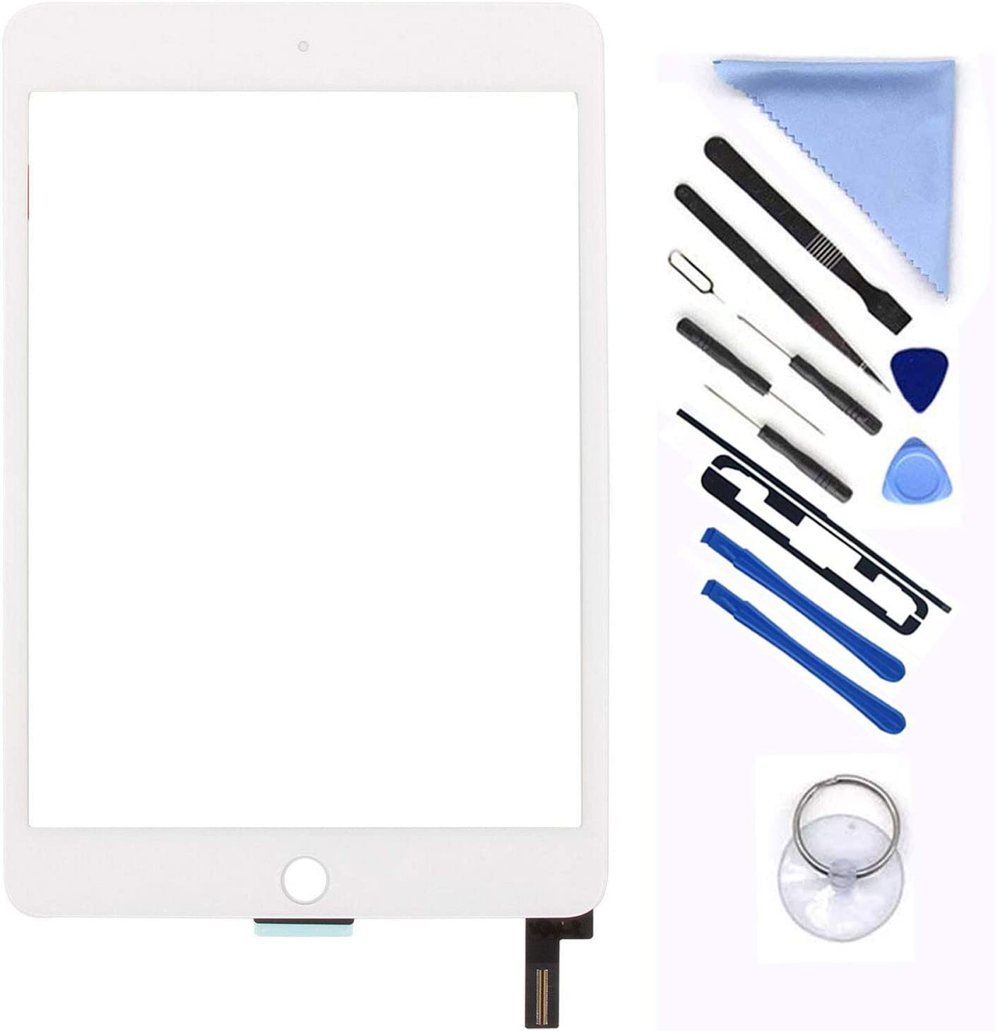 New Screen Replacement For iPad mini 4 7.9 inch A1538 A1550 Digitizer Glass Touch Screen Replacement and Pre-Installed Adhesive with Repair Tools Kit (Without Home Button,Not Include LCD) (White)