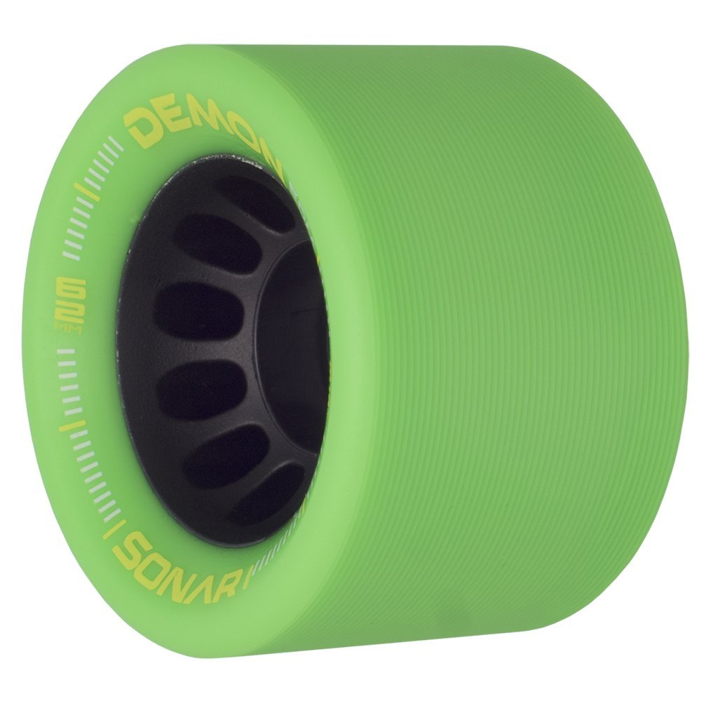 Riedell Skates Sonar Demon EDM 62mm Indoor Skate Wheels (Set of 4) (Green) by Riedell