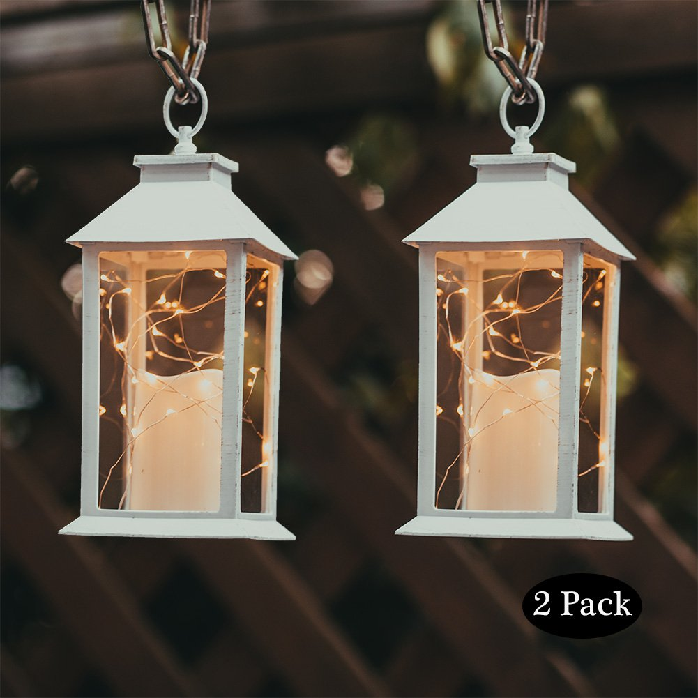 Evermore Light 14'' Tall Christmas Candle Lantern with 4 Hours Timer.30 LEDs Copper Wire String Light (3 AAA Batteries Inclulded) Hanging for Indoor&Outdoor Using Decorative-Candle-Lanterns