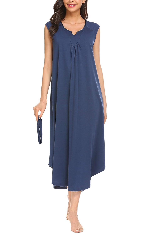 Navy bluee Kindes Women Cotton Nightdress Long Victorian Sleep Dress VNeck Short Sleeve Lounge House Sleep Dress with Eye Mask (SXXL)