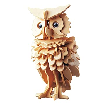 magideal owl bird shapes diy 3d jigsaw wooden model construction kit toy puzzle gift