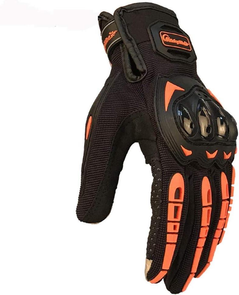 Guanti per moto Guanti Motocross Touch Screen Anticollisione Anti-scivolo Full Finger Riding Tribe Moto Taglia : Orange Verde XL guanti
