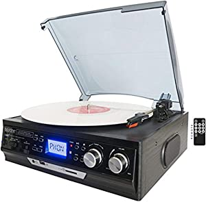 Boytone BT-17DJB 3-speed Stereo Turntable, 2 Built in Speakers Digital LCD Display AM/FM Radio, USB/SD Slot, AUX+ MP3 & WMA Playback /Recorder & Headphone Jack + Remote Control,Black