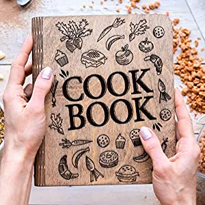 Personalized Recipe Notebook Made of Wood