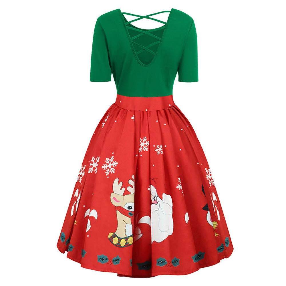 7340e3e44fe DEATU Women Christmas A Line Dress Ladies Youth Plus Size Santa Claus Print  Criss Cross Gown