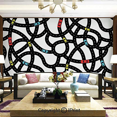 Mural Wall Art Photo Decor Wall Mural for Living Room or Bedroom,Intertwining Roads with Cars on Them Complicated Design with Urban Life Theme,Home Decor - 100x144 inches