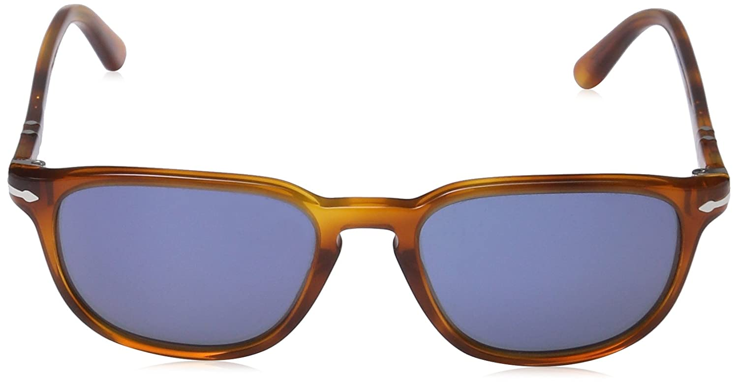 00d3860e76e0 Amazon.com: Persol Men's 0PO3019S 96/56 55 Square Sunglasses,Light Havana  Frame/Blue Lens,One Size: Persol: Clothing