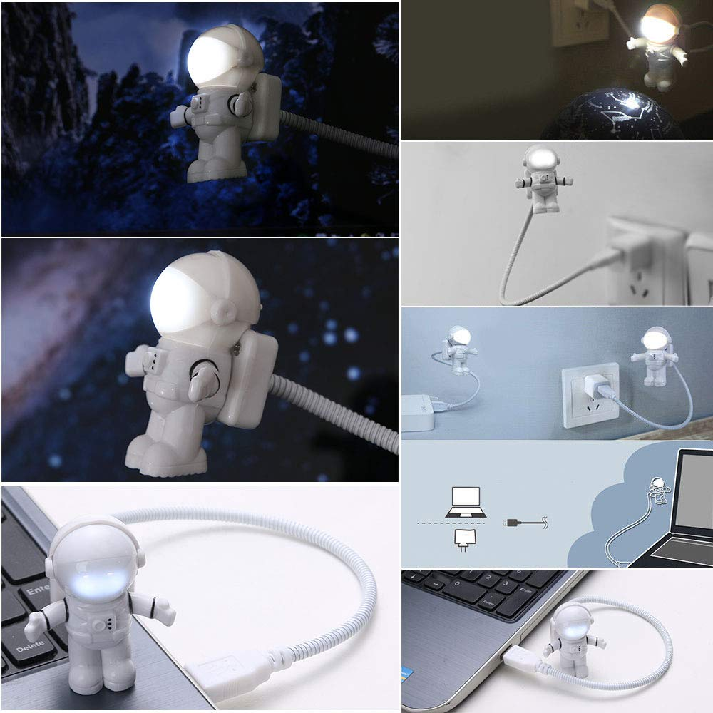Popualr Flexible Astronaut LED USB Night Light Mini Lamp for Laptop Reading okdeals