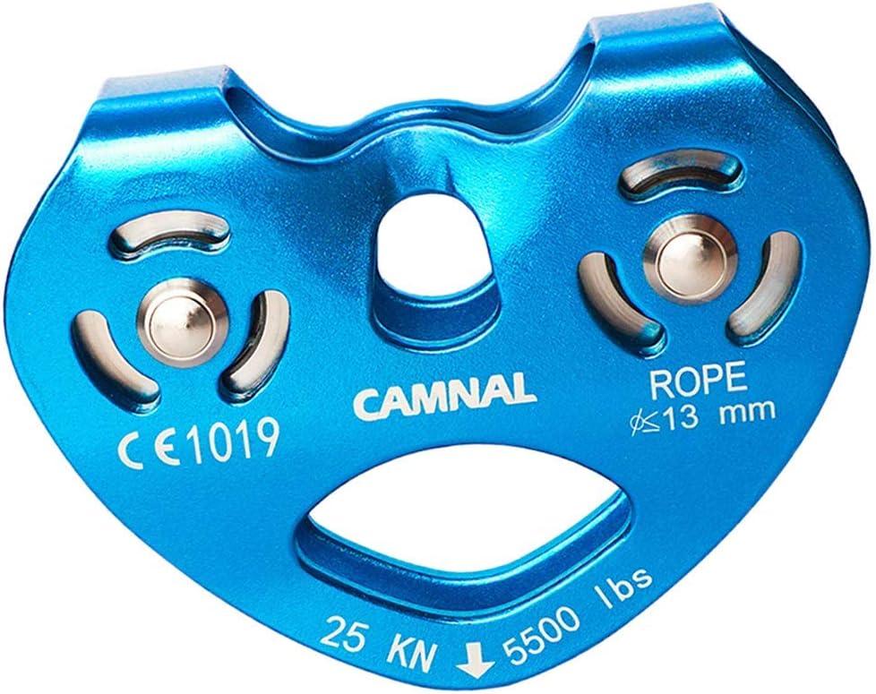 Keenso Puleggia da Arrampicata per Esterni 25KN Heavy Duty Single Rope Rule Pulley Block Arrampicata Attrezzatura di Sicurezza in Lega di Alluminio